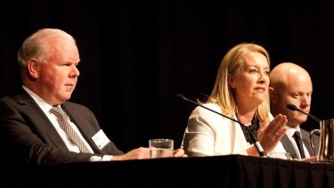 Fighting for diversity: ANZ CEO Mike Smith, Sex Discrimination Commissioner Elizabeth Broderick and  Commonwealth Bank CEO Ian Narev.