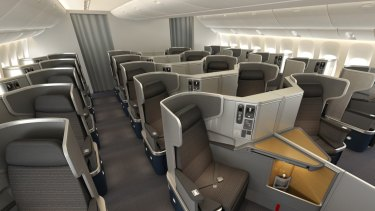 The business class section of the American Airlines 777-300ER, which will fly from Sydney to Los Angeles from December.