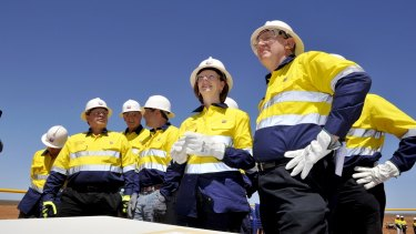 Then prime minister Julia Gillard and resource minister Martin Ferguson visit Barrow Island to see the Chevron-run Gorgan Gas Project.
