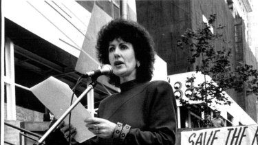 Clover Moore, the MP for Bligh, addresses a crowd in Martin Place in 1988 to help save the Regent Theatre, which closed the following year.