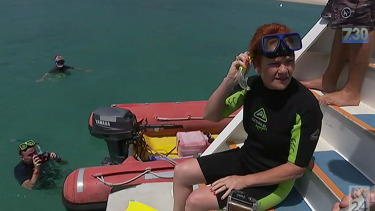 One Nation Senator Pauline Hanson snorkelling off the Great Barrier Reef.