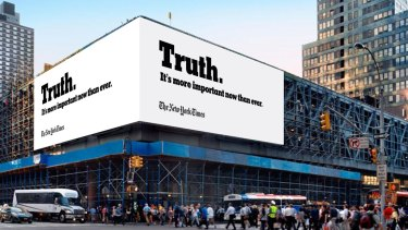 The New York Times advertising campaign in response to attacks by US President Donald Trump.