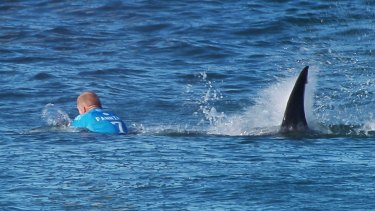 """The moment a huge shark launches at Australian surfer Mick Fanning, who escaped without injury after he """"punched him in the back""""."""
