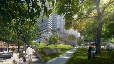 An artist's impression of proposed elevated gardens.