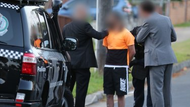A man is arrested in Lockwood Street, Merrylands,  in connection with the killing of police accountant Curtis Cheng.