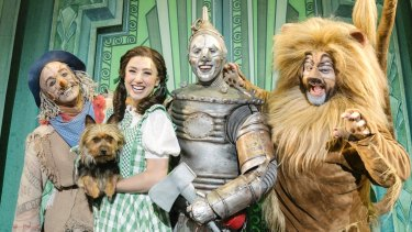 Dorothy (Samantha Dodemaide) with her friends – the Scarecrow (Eli Cooper), the Tin Man (Alex Rathgeber) and the Lion (John Xintavelonis).