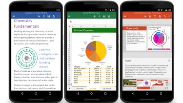 New Word, Excel and PowerPoint apps have been released for Android phones.