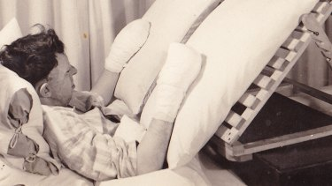 Ken Gilkes in hospital in East Grinstead during World War II.