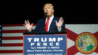 Republican presidential candidate Donald Trump speaks during a campaign rally in Florida.