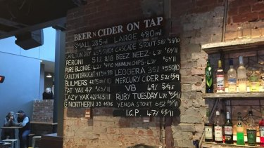 More than meets the eye: The beer prices at The Wembley Hotel.