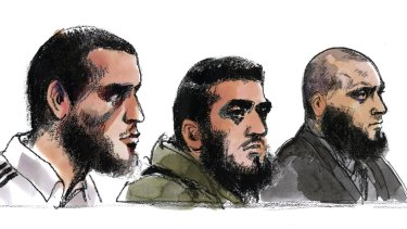 From left to right Ezzit Raad, Ahmed Raad and Bassam Raad as depicted by an artist during an earlier court appearance.