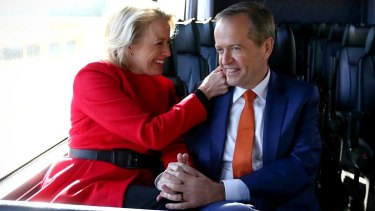 Opposition Leader Bill Shorten and his wife Chloe on the campaign bus during the 2016 election.
