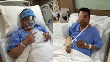 Cambodia National Rescue Party assembly members Kung Sophea and Nhay Chamraoen at a Bangkok hospital after the October attack in Phnom Penh.