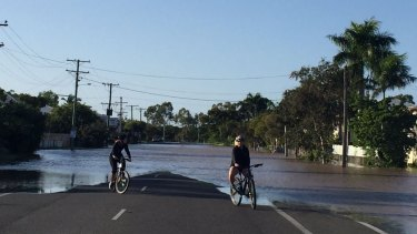 Floodwater makes its way onto Rockhampton streets on Wednesday.
