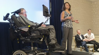 Professor Stephen Hawking with Intel's Lama Nachman announcing his new software system developed by Intel.