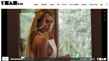 A screenshot from a video on the Stab website, directed by Beren Hall and featuring surfers Alana Blanchard and Jack Freestone.