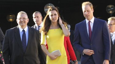 President of the Legislative Council, Don Harwin, with Catherine, Duchess of Cambridge, and Prince William in April last year.