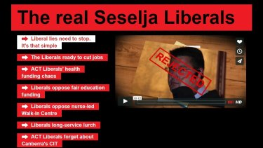The fake Zed Seselja website was created by ACT Labor in 2012 but its domain was renewed in February 2016.
