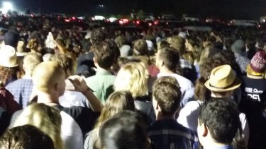 Part of the three-hour bus queue taken by a festival-goer.