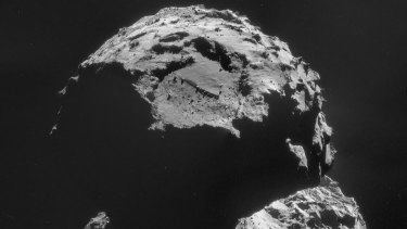 Rosetta's camera takes an image of the site where its lander, Philae, will attempt to touchdown.