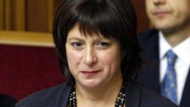 New broom: New Ukrainian Finance Minister Natalie Jaresko stands before deputies during a session of parliament in Kiev.