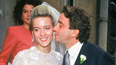 Daphne Guinness and Spyros Niarchos on their wedding day in 1987.