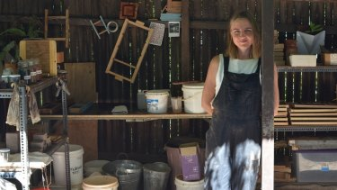 Brick maker Clare Kennedy in her workshop.