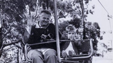 Alan as a child riding the chairlift with his father Vladimir Hajek, who built it.