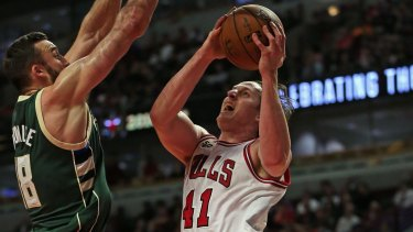 Taking it to the rack: Cameron Bairstow goes up against Milwaukee Bucks in the pre-season.