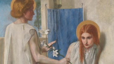 Detail of The Annunication by Dante Gabriel Rossetti, 1849.