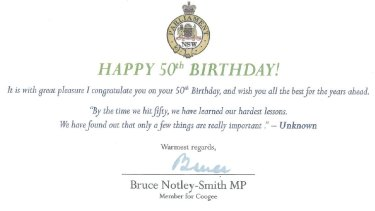 Happy, er, 50th! A surprise birthday card from Bruce Notley-Smith.