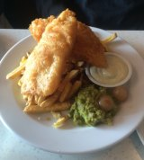 The beer battered fish was $23 at the Whistling Kite.