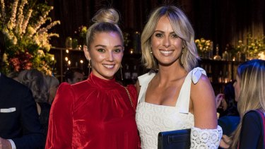 Meet the in-laws: Karl Stefanovic's girlfriend Jasmine Yarbrough (L) and Channel Nine's Sylvia Jeffreys (R), who is married to Peter Stefanovic, at the David Jones Spring Summer 2017 launch on Wednesday.