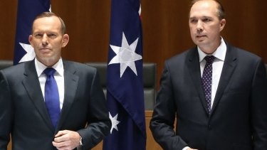 Joke under fire: Peter Dutton with Tony Abbott.