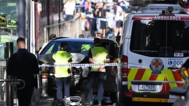 An ambulance at the scene.