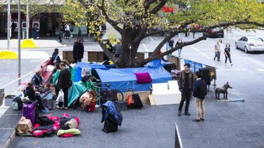 The homeless camp set up at the corner of Swanston and Collins street.