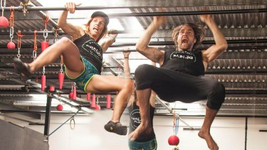 Monkeying around for the sake of fitness: Lisa Parkes and Lex Richards.