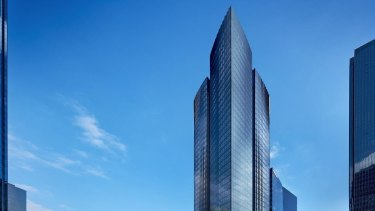 An artist's impression of Fragrance Group's 47-level tower at 555 Collins Street Melbourne.