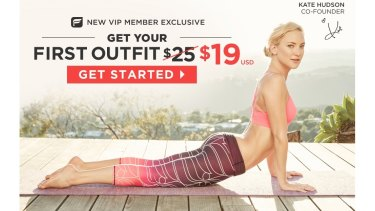 The home page of Fabletics, co-founded by Hollywood actress Kate Hudson.
