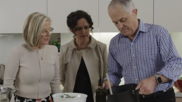 Malcolm and Lucy Turnbull host the ABC's Annabel Crabb on <i>Kitchen Cabinet</i>.