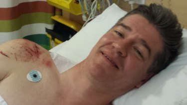 Lucky to be alive: Mr Ludlow underwent surgery at Royal North Shore Hospital.