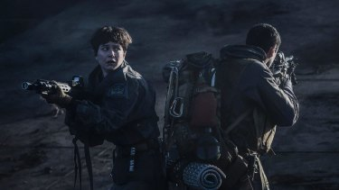Action for Katherine Waterston in <i>Alien Covenant</i>.