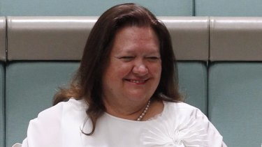 Gina Rinehart at the maiden speech of Barnaby Joyce at Parliament House in 2013.