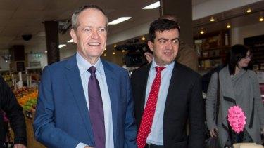 Bill Shorten in his seat of Maribyrnong with NSW senator Sam Dastyari in August.