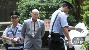 Australian Peter Gardner arriving at Guangzhou People's Intermediate Court in May 2015.