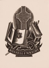 Allan Jordan's bookplate for Russell Wright features a Celtic cross, open book, broom and screwdriver.