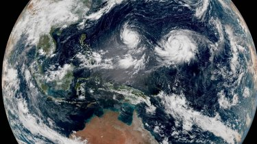 Twin cyclones spinning to Australia's north in August 2015.