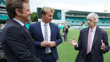 Richie Benaud with Brett Lee and Mark Nicholas at Channel Nine's launch of the summer of cricket.