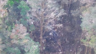 The site of Sunday's crash of the Trigana Air plane in Papua province, Indonesia.