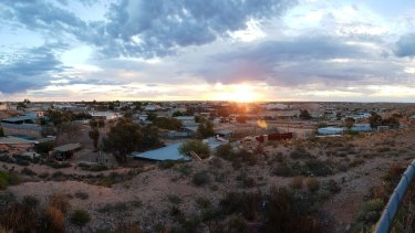The view from the Italo-Australian Miners' Club in Coober Pedy, an important setting for a scene in the novel.